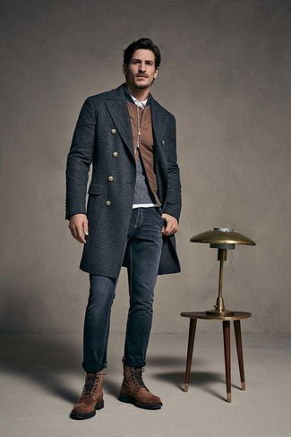 How to wear: charcoal plaid overcoat, brown bomber jacket, charcoal crew-neck sweater, white polo