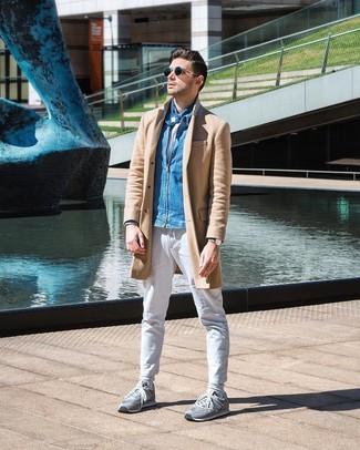 How to wear: camel overcoat, blue denim bomber jacket, white crew-neck t-shirt, white chinos