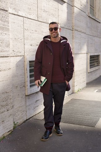 How to Wear Burgundy Sunglasses For Men: The styling capabilities of a burgundy overcoat and burgundy sunglasses guarantee you'll have them on regular rotation in your menswear arsenal. Make your getup slightly more polished by rounding off with a pair of black leather derby shoes.