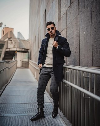 Navy Sunglasses Outfits For Men: This city casual combination of a navy overcoat and navy sunglasses is very easy to put together without a second thought, helping you look amazing and ready for anything without spending a ton of time going through your closet. Level up your ensemble with a pair of black leather casual boots.