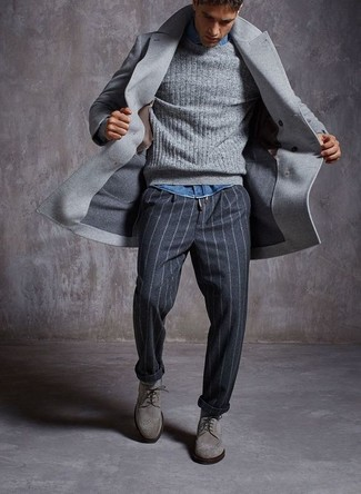How to wear: grey overcoat, grey cable sweater, blue denim shirt, charcoal vertical striped dress pants