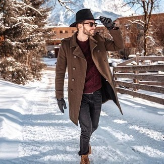 Hat Outfits For Men: The utility of a brown overcoat and a hat makes them absolute casual staples. Infuse an element of stylish nonchalance into this outfit with tobacco suede work boots.