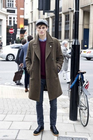 How to Wear Charcoal Jeans For Men: This combination of an olive overcoat and charcoal jeans can only be described as incredibly sharp and effortlessly smart. Rounding off with a pair of black suede low top sneakers is an easy way to add a laid-back feel to your look.
