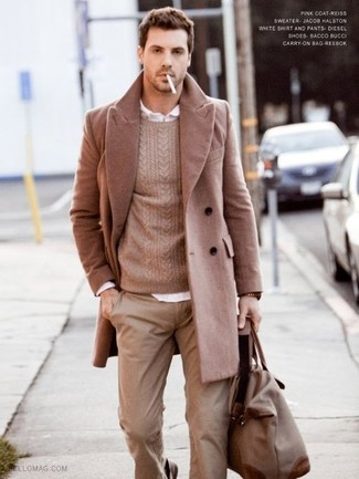 Choose a tan overcoat and tan chinos for drinks after work.