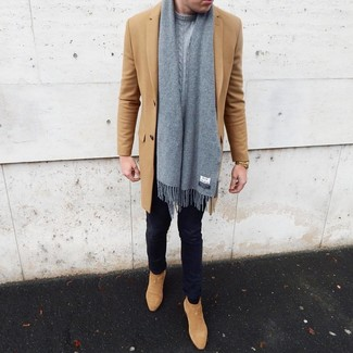 How to wear: camel overcoat, grey cable sweater, navy skinny jeans, tan suede chelsea boots