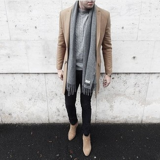 Grey Scarf Outfits For Men: Marry a camel overcoat with a grey scarf for a fashionable and easy-going outfit. Our favorite of a great number of ways to round off this outfit is with a pair of beige suede chelsea boots.