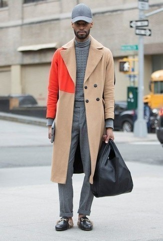 Black Leather Tote Bag Outfits For Men: A camel overcoat looks so nice when worn with a black leather tote bag. And if you need to immediately perk up this look with one piece, why not add a pair of black leather loafers to the equation?