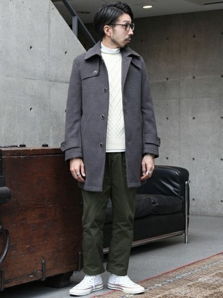 White Canvas High Top Sneakers Cold Weather Outfits For Men: This smart pairing of a charcoal overcoat and dark green chinos is very easy to throw together without a second thought, helping you look amazing and ready for anything without spending a ton of time searching through your wardrobe. And if you need to effortlessly play down this getup with footwear, complete this getup with white canvas high top sneakers.