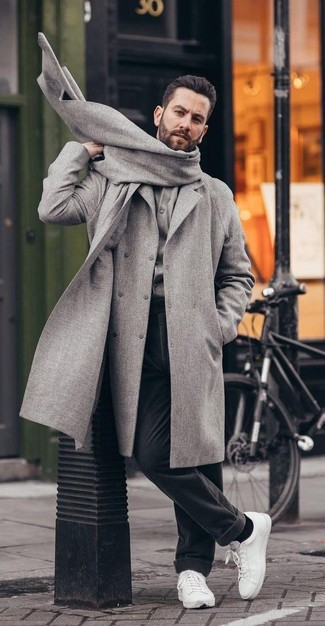 How to wear: grey overcoat, grey cardigan, black wool dress pants, white leather low top sneakers
