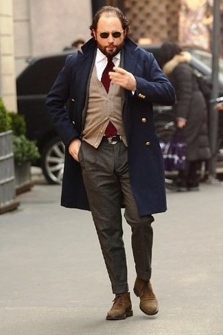 How to wear: navy overcoat, tan cardigan, white dress shirt, charcoal wool dress pants