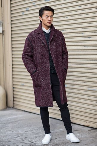 A dark purple overcoat with black slim jeans has become an essential combination for many style-conscious men. Look at how well this look is round off with slip-on sneakers. A stylish summer-to-fall transition look like this one makes it very easy to embrace the new season.