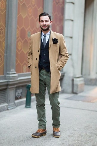 How to Wear Dark Brown Suede Gloves For Men: If it's ease and functionality that you appreciate in a look, opt for a camel overcoat and dark brown suede gloves. Up the appeal of this look by finishing off with charcoal leather casual boots.