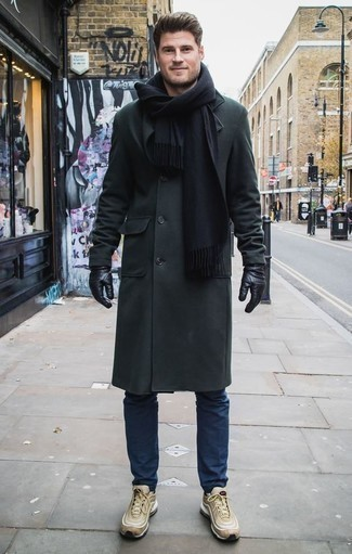 How to Wear a Black Scarf For Men: For a contemporary outfit, Marry a dark green overcoat with a black scarf. Introduce a more laid-back aesthetic to by sporting a pair of tan athletic shoes.