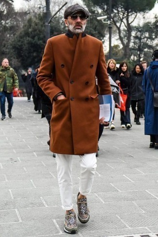 How to Wear White Chinos: Try pairing a tobacco overcoat with white chinos to assemble a casually classic and pulled together ensemble. Inject some much need fun and experimentation into your look with the help of brown athletic shoes.