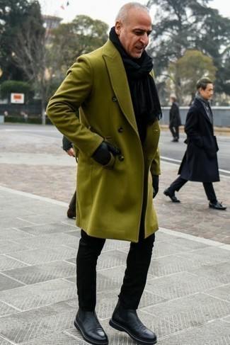How to Wear Black Leather Chelsea Boots For Men: For relaxed sophistication with an alpha male spin, you can easily rock an olive overcoat and black chinos. Go for a pair of black leather chelsea boots to avoid looking too casual.