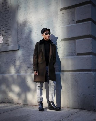 How to Wear Suspenders: On days when comfort is crucial, this combo of a dark brown overcoat and suspenders is a no-brainer. Round off this look with black leather chelsea boots to shake things up.