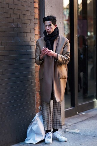 Beige Plaid Chinos Outfits: Combining a camel overcoat and beige plaid chinos is a surefire way to infuse a polished touch into your wardrobe. For a more laid-back touch, why not add a pair of white canvas low top sneakers to your look?