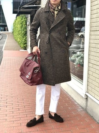 How to wear: dark brown gingham overcoat, white chinos, dark brown suede tassel loafers, red leather messenger bag