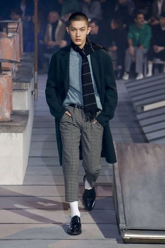 A black overcoat and a Prada men's Printed Buckle Saffiano Leather Belt Black will showcase your sartorial self. Black leather derby shoes are the right shoes here to get you noticed. An outfit like this is great for in-between weather.