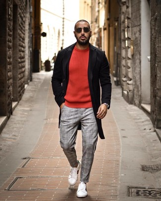 How to wear: black overcoat, red crew-neck sweater, grey plaid chinos, white leather low top sneakers