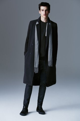 How to wear: black overcoat, black crew-neck sweater, navy chinos, black suede chelsea boots