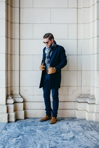 Men's Looks & Outfits: What To Wear In 2020: A navy overcoat and navy chinos are essential in any gentleman's versatile wardrobe. Feeling experimental? Shake things up with tan suede chelsea boots.