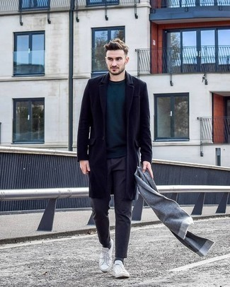 How to Wear a Grey Scarf For Men: Consider pairing a navy overcoat with a grey scarf if you're hunting for an outfit option for when you want to look casually stylish. White canvas low top sneakers are exactly the right shoes here to get you noticed.