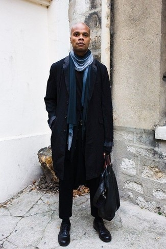 Belt Outfits For Men After 40: One of the coolest ways for a man to style out a navy overcoat is to team it with a belt in a relaxed combination. Finish off this ensemble with a pair of black leather derby shoes to shake things up. Rest assured this combo is something you can totally wear as an over-40 gent.