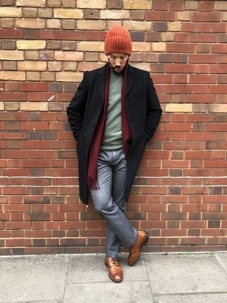 Grey Chinos with Shoes Outfits: Team a black overcoat with grey chinos to don a sleek and refined ensemble. The whole ensemble comes together if you complete your outfit with a pair of tobacco leather casual boots.