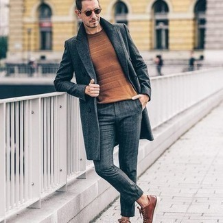 Tobacco Crew-neck Sweater Outfits For Men: Marry a tobacco crew-neck sweater with charcoal check chinos for both stylish and easy-to-wear getup. Let your styling savvy really shine by finishing off your outfit with brown leather low top sneakers.