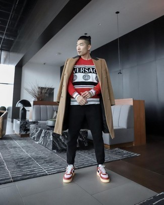 White and Red Leather Low Top Sneakers Outfits For Men: A camel overcoat and black chinos are a savvy pairing that will earn you the proper amount of attention. Finishing off with a pair of white and red leather low top sneakers is the most effective way to introduce a sense of stylish casualness to your ensemble.