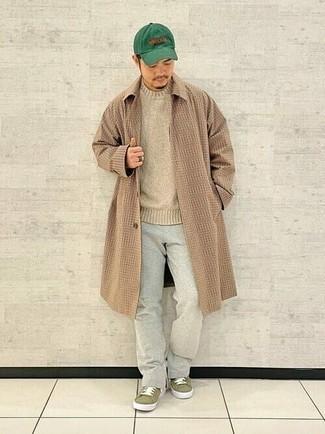 Men's Camel Check Overcoat, Beige Crew-neck Sweater, Grey Chinos, Olive Canvas Low Top Sneakers