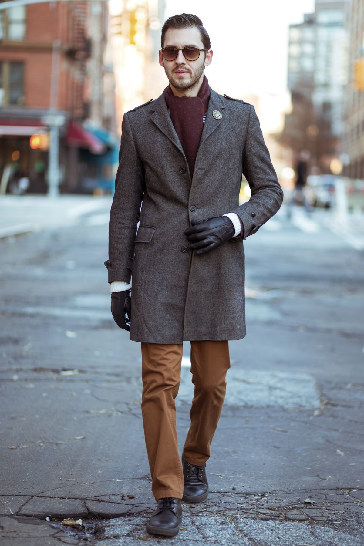 How To Wear a Black Crew-neck Sweater With Brown Chinos | Men's ...