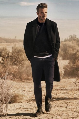 David Beckham wearing Black Overcoat, Black Crew-neck Sweater, White Crew-neck T-shirt, Navy Dress Pants