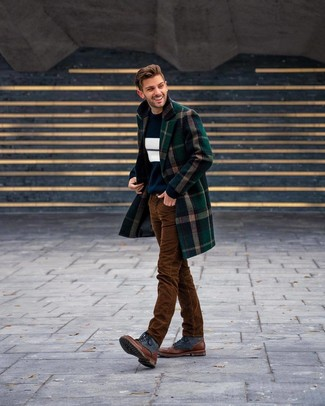 How to wear: dark green plaid overcoat, navy and white horizontal striped crew-neck sweater, white crew-neck t-shirt, brown corduroy jeans