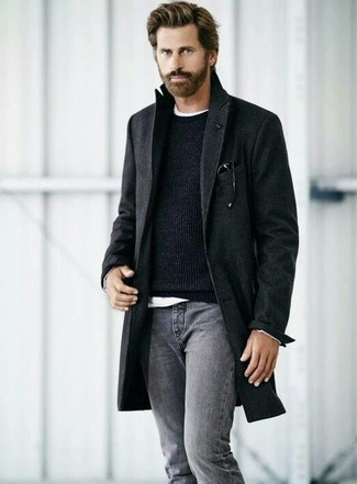 Men's Black Overcoat, Black Crew-neck Sweater, White Crew-neck T-shirt, Grey Jeans