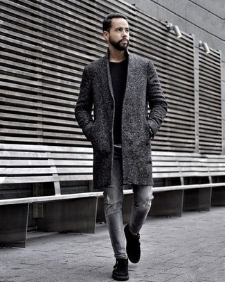 Men's Looks & Outfits: What To Wear In 2020: This pairing of a charcoal overcoat and grey ripped jeans is extremely easy to throw together and so comfortable to work throughout the day as well! To introduce a bit of zing to your outfit, add a pair of black suede double monks to this look.