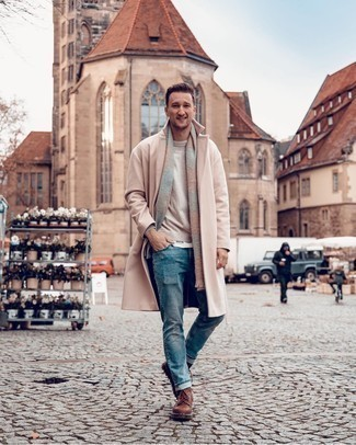 Beige Crew-neck Sweater Outfits For Men: A beige crew-neck sweater and blue jeans are the kind of casual staples that you can style a great deal of ways. If you wish to instantly perk up your ensemble with one single item, why not introduce brown leather casual boots to the equation?