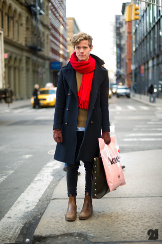 This combination of a navy overcoat and a Barneys New York men's Gauzy Tonal Stripe Scarf is the picture of elegance. A pair of brown leather chelsea boots will seamlessly integrate within a variety of looks. A stylish summer-to-fall transition getup like this one makes it very easy to embrace the new season.