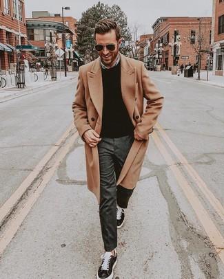 How to wear: camel overcoat, black crew-neck sweater, light blue denim shirt, charcoal dress pants