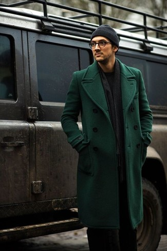 Tap into refined, elegant style with a green overcoat and a Cole Haan Lightweight Jersey Elongated Beanie. This ensemble is a wonderful choice when it comes to figuring out a well-coordinated getup for in-between weather.