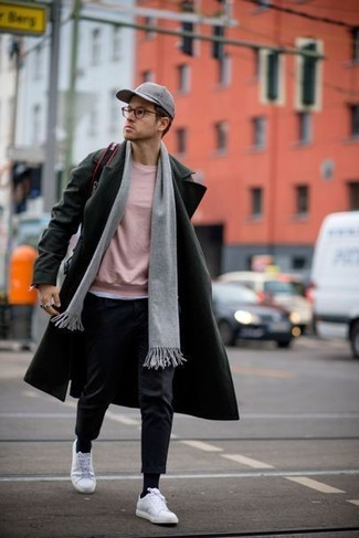 How to wear: olive overcoat, pink crew-neck sweater, black dress pants, white low top sneakers