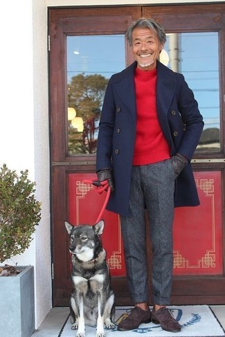 How to wear: navy overcoat, red crew-neck sweater, charcoal wool dress pants, dark brown suede oxford shoes