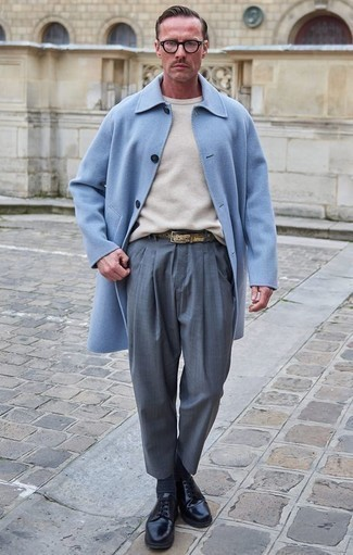 How to Wear a Beige Crew-neck Sweater For Men: This pairing of a beige crew-neck sweater and grey dress pants is incredibly stylish and provides instant class. When not sure about what to wear in the footwear department, complement your look with black leather derby shoes.