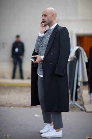 How to wear: black overcoat, grey crew-neck sweater, white dress shirt, grey chinos