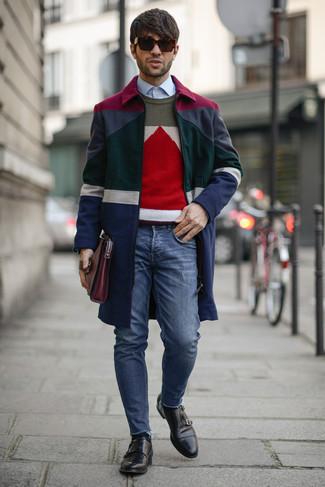 Men's Multi colored Overcoat, Multi colored Geometric Crew-neck Sweater, Light Blue Dress Shirt, Blue Skinny Jeans