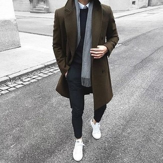 How to wear: olive overcoat, black crew-neck sweater, white dress shirt, black chinos