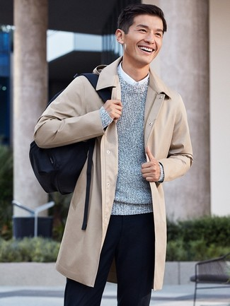 Which Crew-neck Sweater To Wear With a Beige Overcoat: This combination of a beige overcoat and a crew-neck sweater will add alpha male essence to your look.