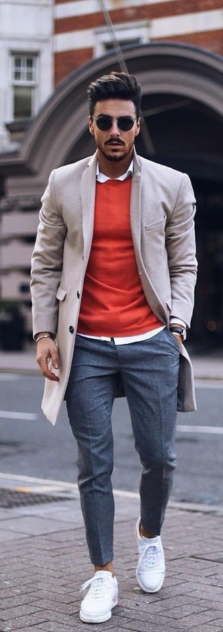 Which Crew-neck Sweater To Wear With a Beige Overcoat: Consider pairing a beige overcoat with a crew-neck sweater for a proper polished menswear style. You can get a bit experimental in the shoe department and dress down your getup by rocking a pair of white leather low top sneakers.