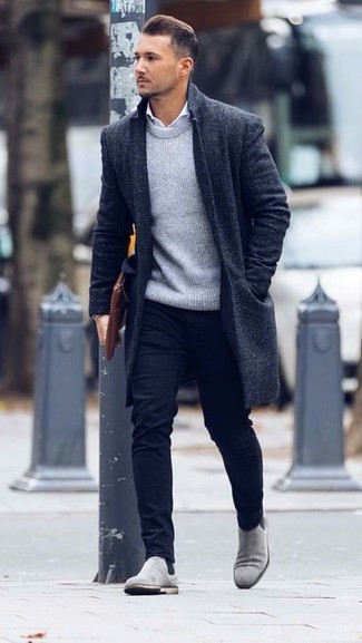 How to wear: black overcoat, grey crew-neck sweater, white dress shirt, black chinos